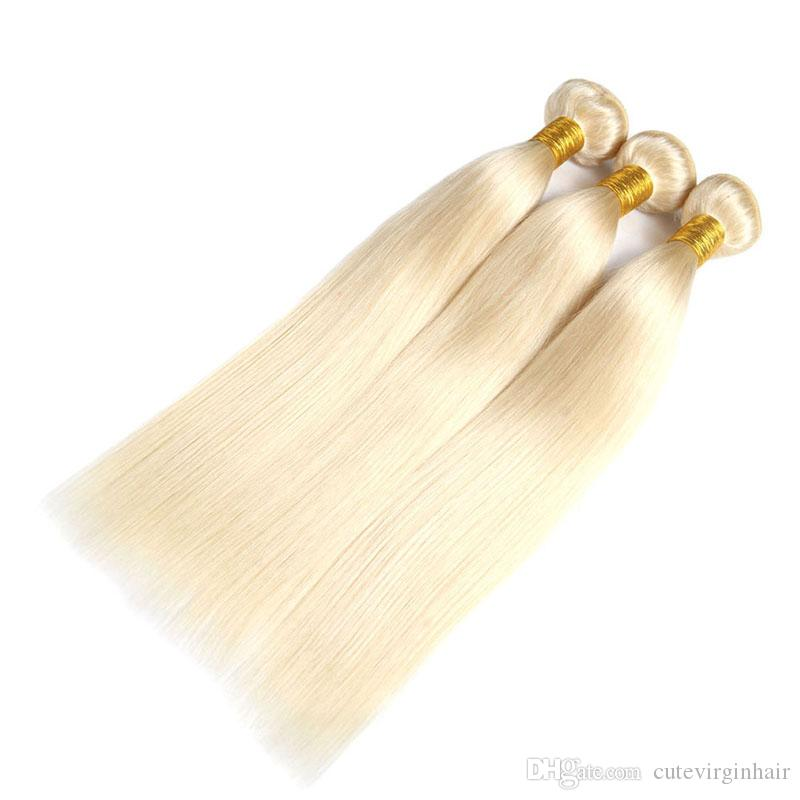 #613 Blonde 22.5*4*2 Inches Lace Frontal with Bundles Straight Blonde Brazilian Virgin Human Hair Weaves Transparent 360 Swiss Lace Frontal