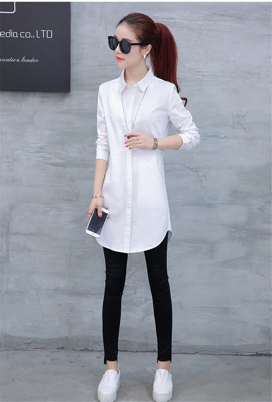 Autumn blouse shirt for woman Women Long White Shirts All-match Good Quality blusa feminina Lady Casual Cotton Blouse & Tops