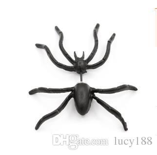 Pendientes de arañas negras estilo caliente antes y después de los pendientes dobles que perforan extravagantes decoraciones alternativas de Halloween