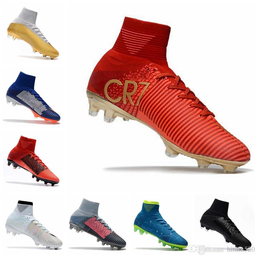 9b563723348 2019 2018 Men Kids Women Mercurial Superfly CR7 V FG AG Football Boots  Cristiano Ronaldo High Tops Neymar JR ACC Soccer Shoes Soccer Cleats From  Hitalk520