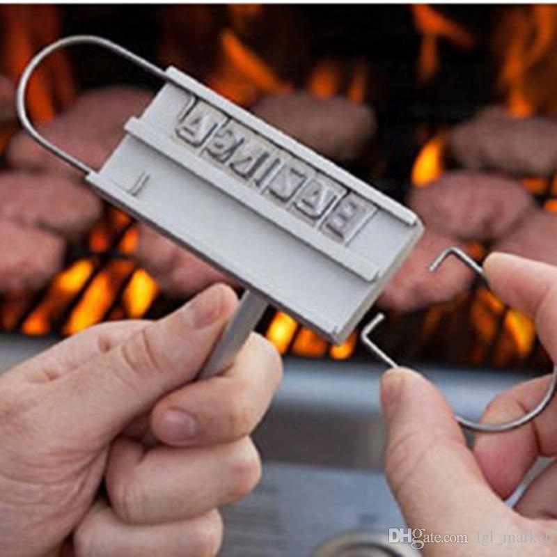 Барбекю брендинг железа 55 письма гриль стейк мясо барбекю Барбекю щипцы наборы инструментов барбекю мясо брендинг железа с переменчивой