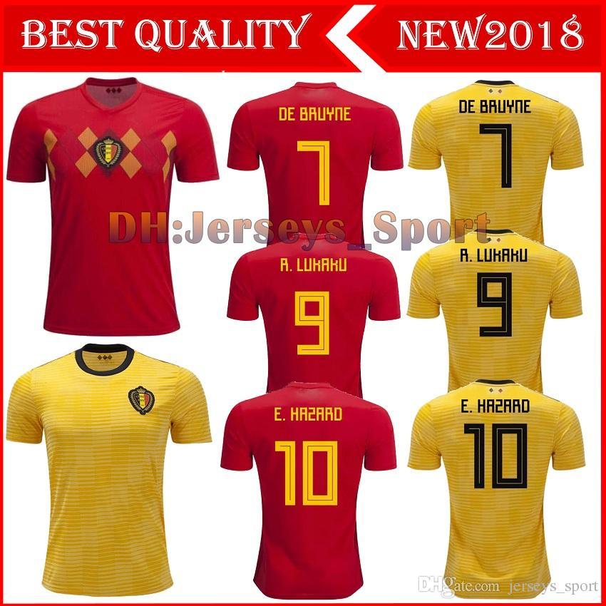 9a4411b1e 2019 Belgium 2018 World Cup Home Red Top Thailand Quality LUKAKU FELLAINI E.HAZARD  KOMPANY DE BRUYNE Soccer Jersey 18 19 Belgium Football Shirt From ...