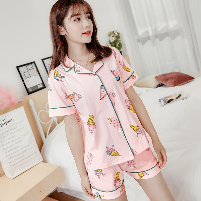 2019 Summer Sweet Cute Japanese Cartoon Print Kawaii Student Pajama Set  Short Sleeve Shirts+Elastic Waist Shorts Sleepwear Female From Kingflower 099f65a88