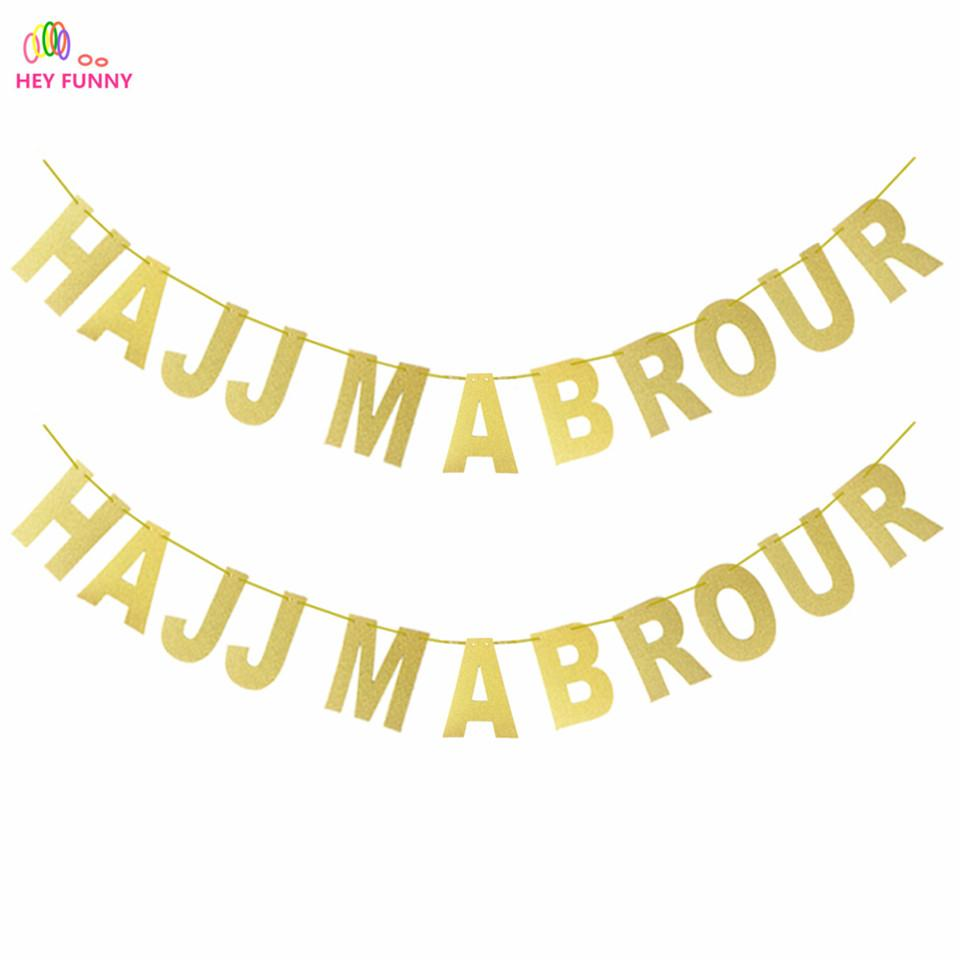2018 Gold Hajj Mabrour Banner Glitter Paper Garland Party Decoration ...