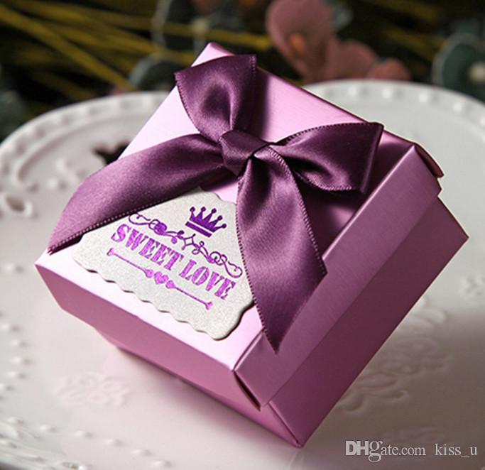 Red Gold Purple Wedding Candy Box Sweets Gift Favor Boxes With Ribbon Party Decoration Wedding Gifts For Guests Favors