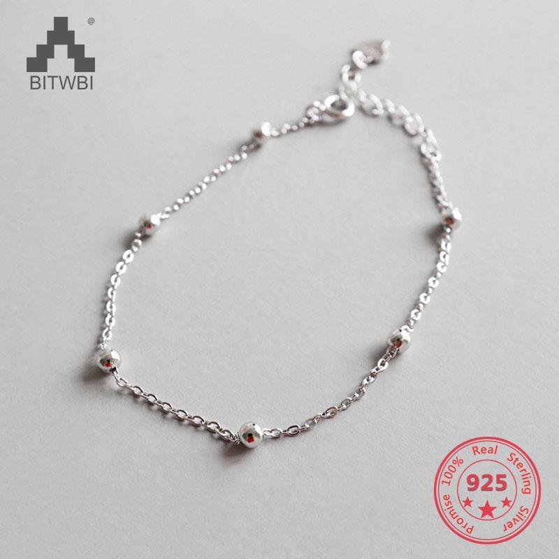 175e2643d3e4 Pulsera de cadena de cuentas simples simples de plata esterlina 925 para  joyería fina de las mujeres