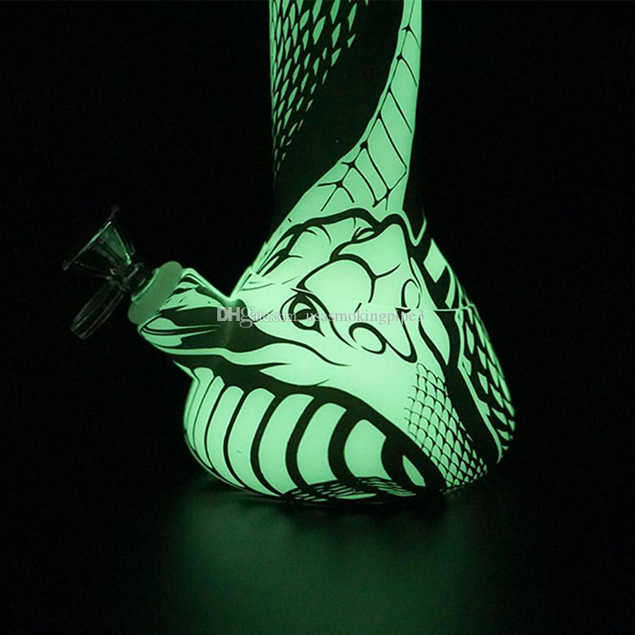 Base de tubulação de água de silicone Base 13.5 '' Hookahs Impressão Bongs Dab Rig Rig Texture Texture Brilho no escuro