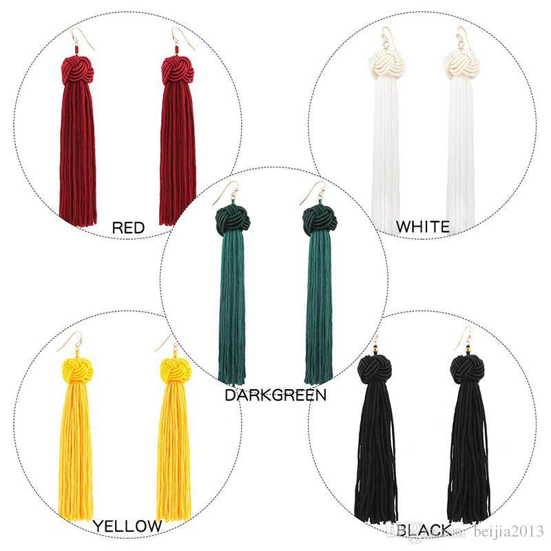 El yapımı Püskül Küpe 5 renkler Trendy Siyah Kırmızı Sarı Yeşil beyaz Uzun Dangles Kulak Kadınlar Için Broncos Ipek Saçaklı Mücevherat