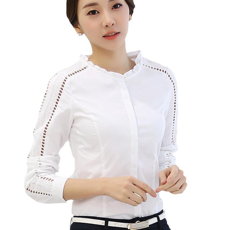 e9b7740b6 Compre VOGORSEAN Tops Y Blusas Blancas Para Mujer Moda Coreana Camisa De  Otoño Mujeres Manga Larga Blusa Hueca Ropa De Mujer Femininas Top A  36.65  Del ...