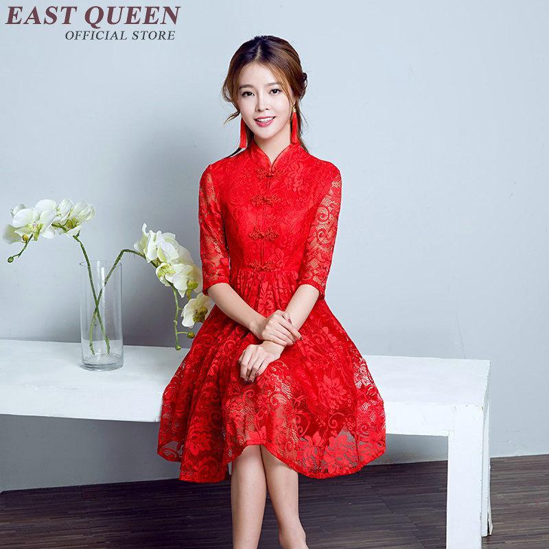 Großhandel Moderne Qipao Kleid Ethik Stil Kurze Cheongsam Rot
