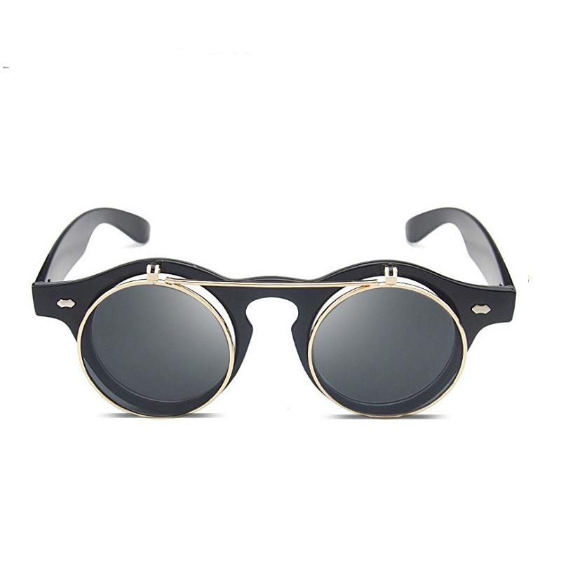 6e72366a304 Flip Up Sunglasses Men Round Vintage 2018 Steampunk Unisex Retro Black Frame  Sun Glasses For Women Circle Lens Punk Style Shades Sunglasses Cheap  Sunglasses ...