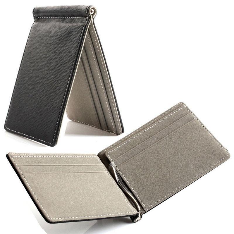 e35f2b6a982e9 Faux Leather Slim Mens Wallet Money Clip Contract Color Simple Design  Burnished Edges Brand New Men Bifold Wallets
