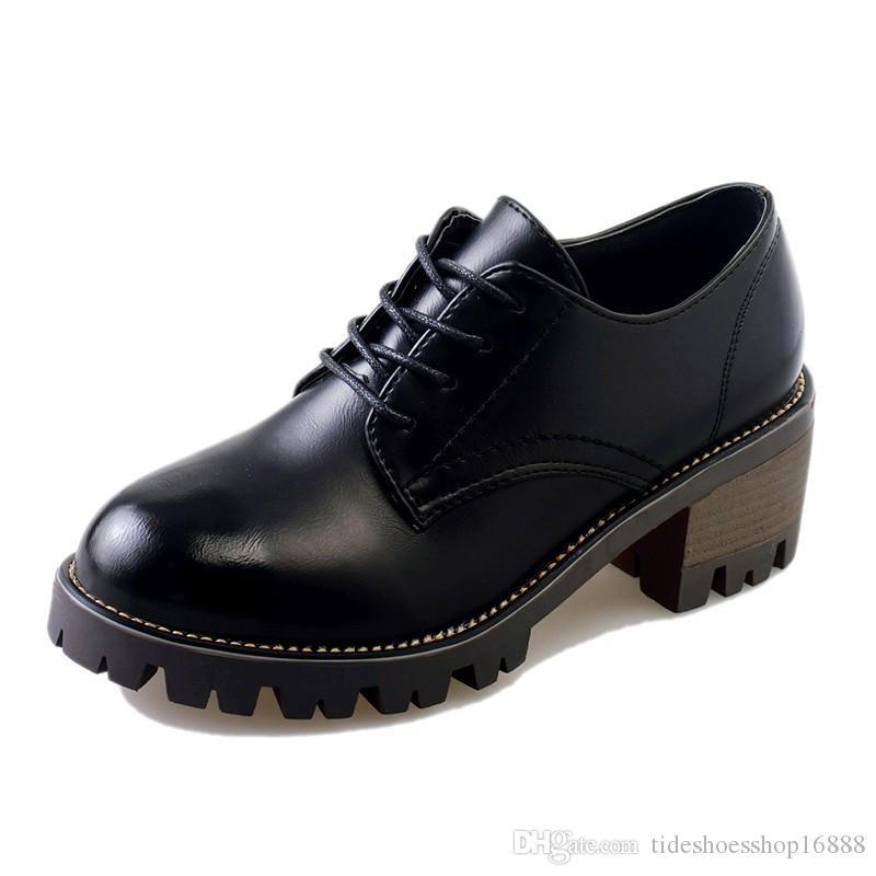 Acquista 2018 Autunno Donne Sneakers Piattaforma Scarpe Lace Up In Pelle  Vestito Da Lavoro Scarpe Da Donna Oxford Scarpe Le Donne Creepers A  48.2  Dal ... 977c5b4a71f