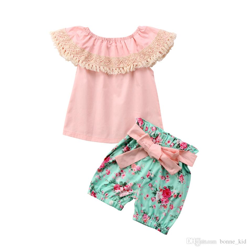 0ca08199114f0 Cute Baby Girl Summer Clothes Pink Top+Floral Shorts 2-piece set Tassel  Outfits Kid Casual Clothes Girls Summer Boutique Costume Clothing