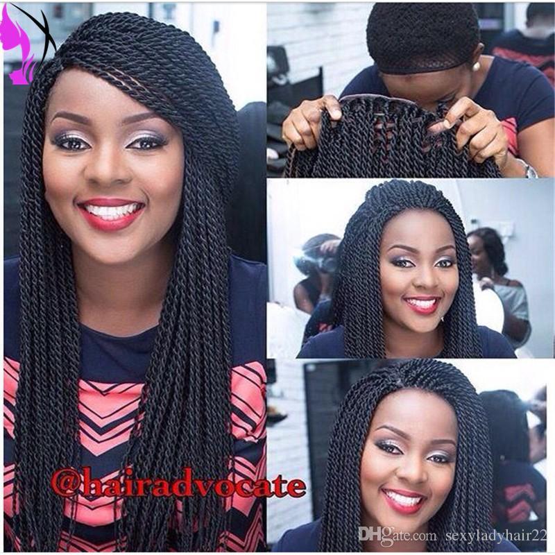 Hotselling long havana twist wig 150density fulll Synthetic Lace Front Braids Wigs for black women Kinky Twist Hair Heat Resistant Wigs