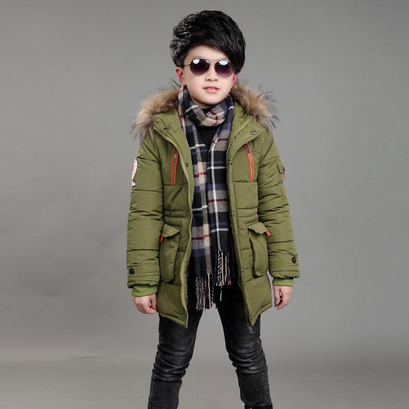 Boys Winter Jacket 5 15 Years Old Kids Long Down Coats Hooded Fur Collar  Thick Warm Big Pocket Zipper Stars Chidlren S Parka Coats For Teenage Girls  Kids ... 492bd29230