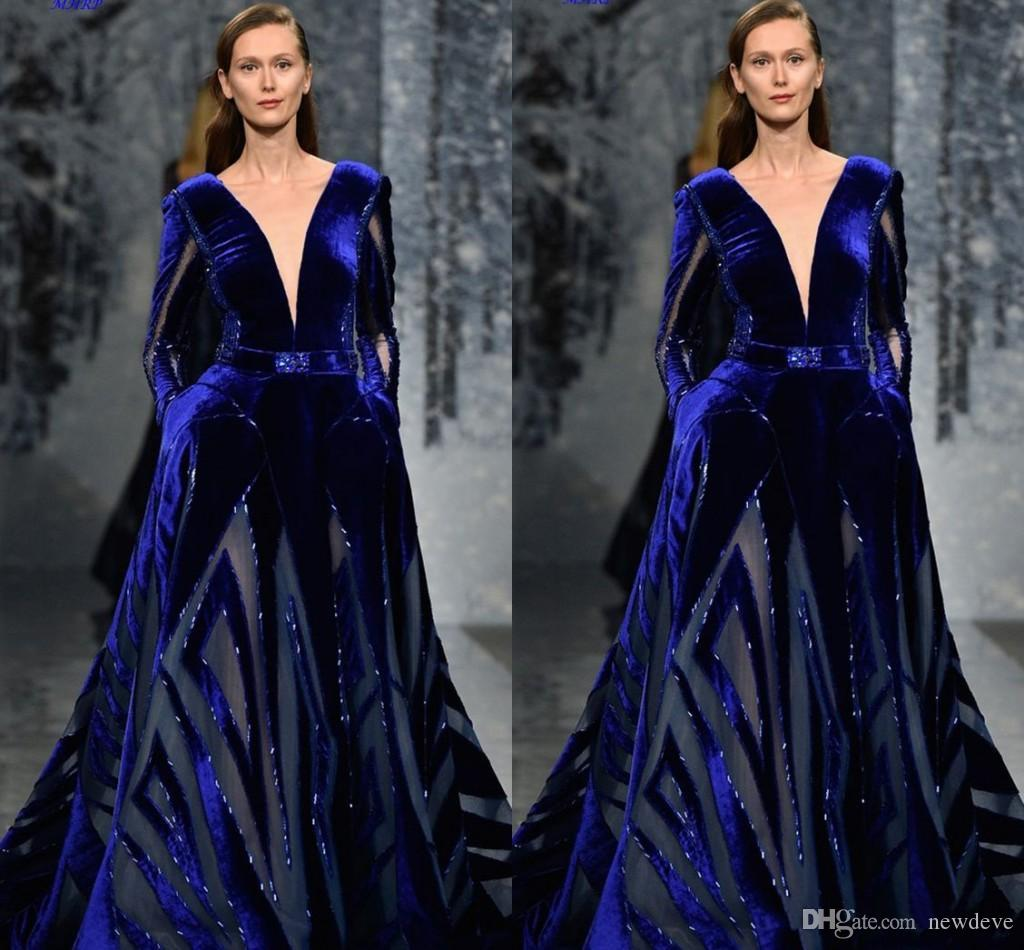 Ziad Nakad Long Sleeve Prom Dress Modest Sexy Deep V Neck Middle East Dubai Arabic Royal Blue Velvet Plus Size Evening Gowns