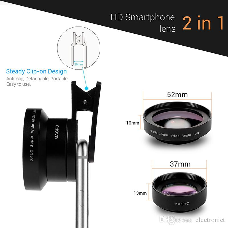 Universal 2 in 1 Cell Phone Camera Lens 52MM UV Super Wide Angle  Professional DSLR Lenses for IOS Android Free DHL Shipping