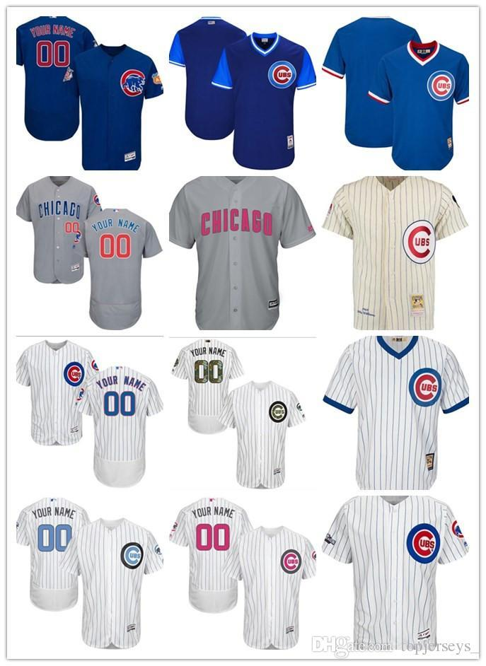 wholesale dealer 82361 9cf9b custom Men women youth Majestic Chicago Cubs Jersey Personalized #00 Any  Your name and number Home Blue Grey White Baseball Jerseys
