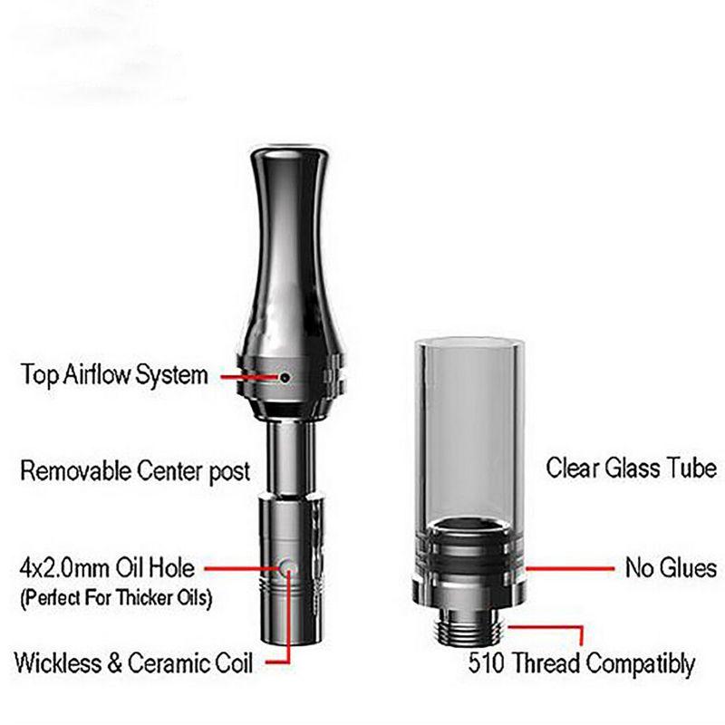 Heißeste Glaspatrone Vape Tank Oil Vaporizer O Stift Vape C9 Oil Atomizer 510 Glaspatronen mit Metallspitze