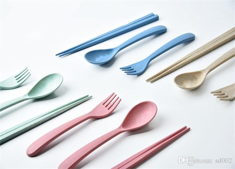 Пшеница стебель ложка вилка палочки для еды столовые приборы наборы путешествия портативный посуда Кухонные принадлежности многоцветные 2 1yy C R
