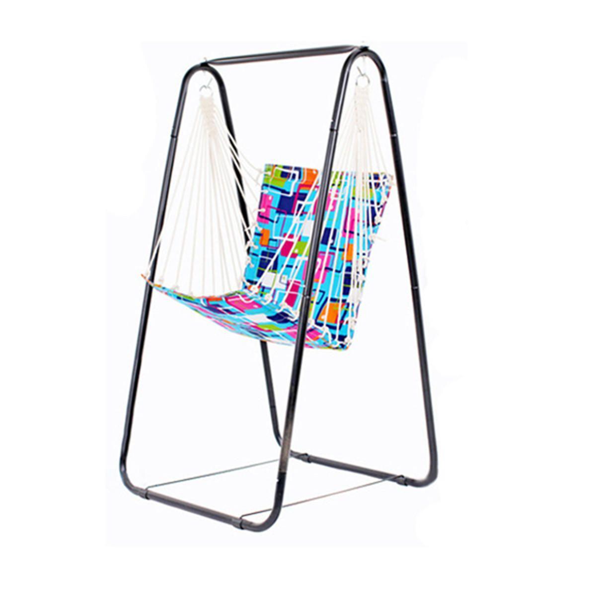 Hammock Hanging Chair Leisure Swing + Steel Foot Holder Garden Outdoor  Camping Hammock Swing Chair For Rest