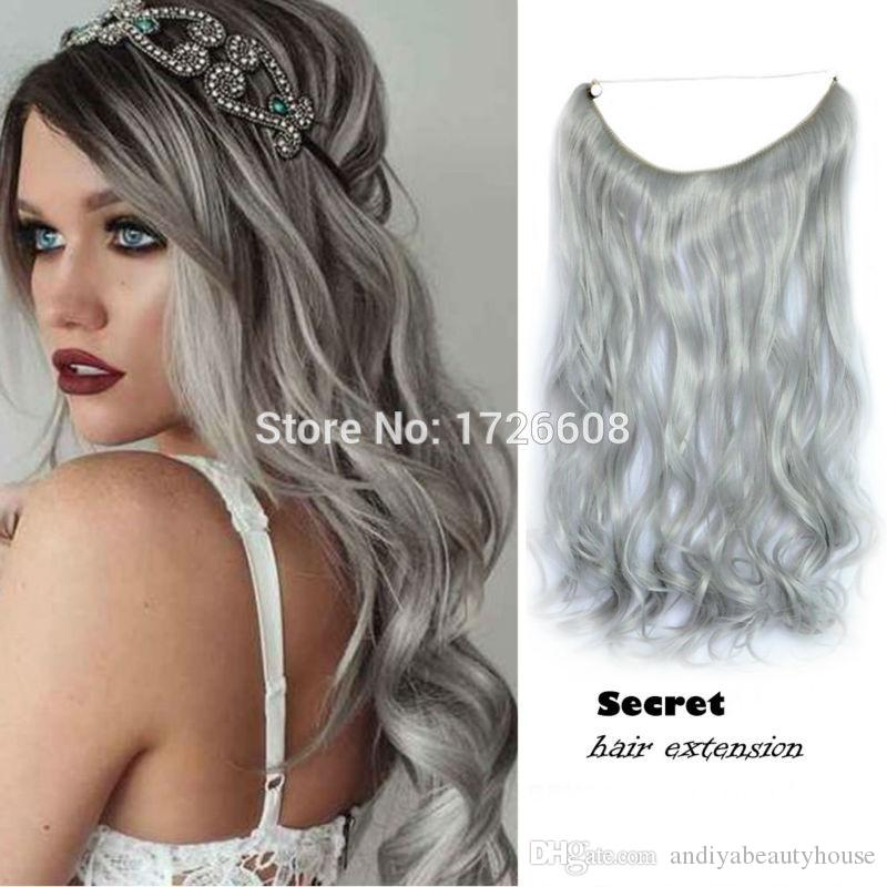 Long Grey Silver No Clip Hair Extension Brazilian Natural Wave Invisible  Synthetic Halo Hair Flip In Secret Hair Extensions UK 2019 From  Andiyabeautyhouse 70167c37a