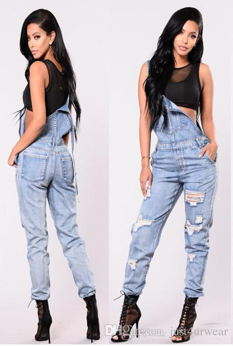 Women Overalls Washed Denim Jeans Jumpsuits Long Trousers Pants Fashion High Street Cool Jeans Suits Women Clothes Loose Jeans Outfit