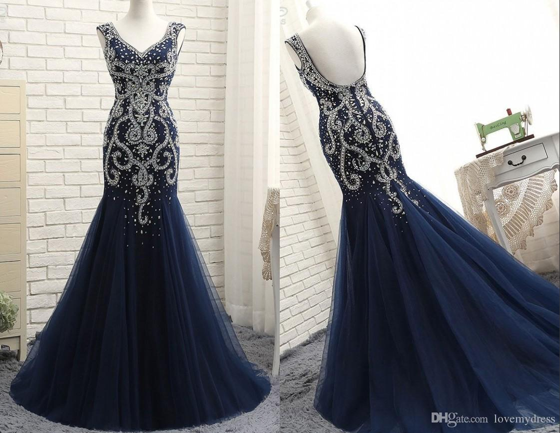 b3ec74b56dbf Luxury Mermaid Pageant Evening Dresses 2018 Crystal Beaded Tulle Cap Short  Sleeves Dark Blue Designer Prom Formal Dress Plus Size Mermaid Dresses  Cheap ...