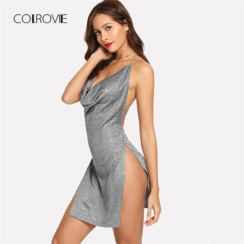 9427cb1eed 2019 COLROVIE Grey Backless Metallic Plunge Cowl Slit V Neck Sexy Bodycon  Dress 2018 Autumn Solid Split Night Out Mini Women Dresses From Aqueen