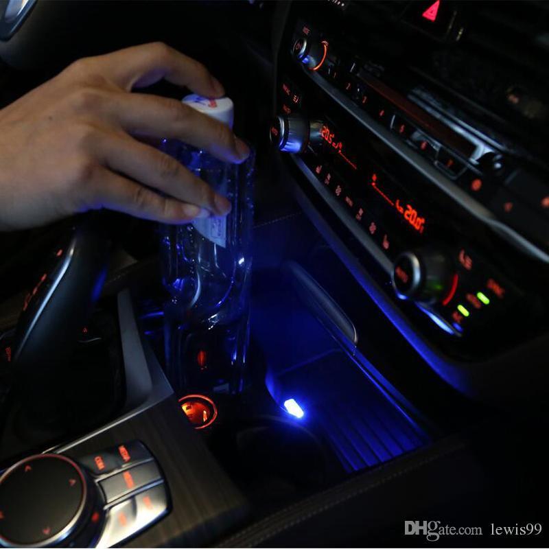 Car Styling Portavasos caja de almacenamiento de luz USB Decorativo Para BMW F10 E90 F20 F30 E60 GT F07 X3 f25 X4 f26 X5 X6 E70 Z4 F15 F16 Accesorios