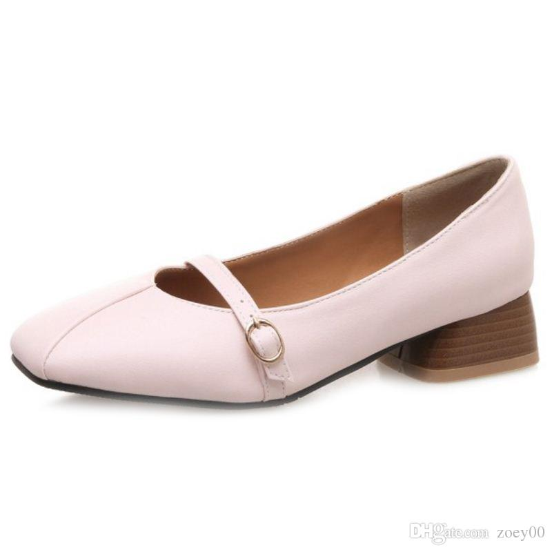 Smilice 2018 Woman Casual Pumps with Chunky Heel and Square Toe Simple Design Elegant Working Chic Shoes with Large Size Available A241
