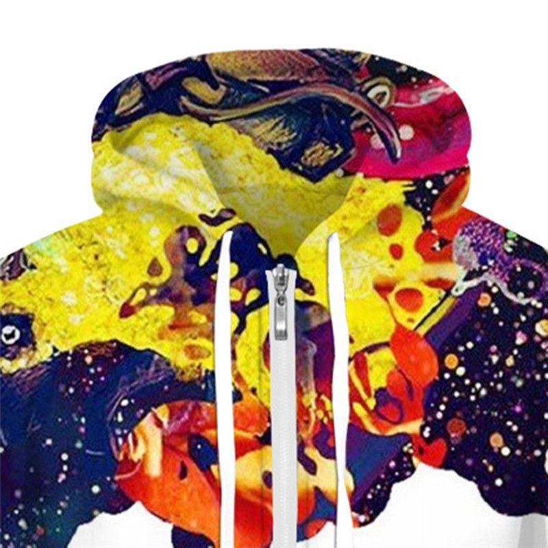 Colorful Smoking Hooded With Zipper Streetwear Men Casual Hip Hop Hoodie Galaxy Graffiti Sweatshirts Tracksuit Digital Hooded