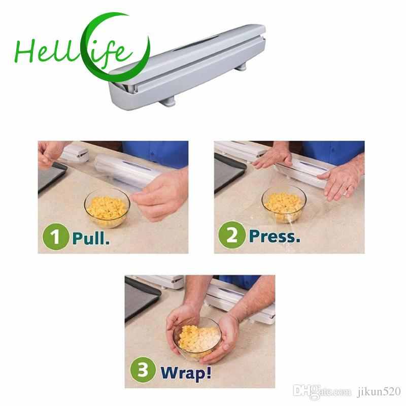 HELLOLIFE Plastic Wrap Dispenser Kitchen Cling Food Wrap Cutter Aluminum Foil Wax Paper Cutter Storage Holder Kitchen Tools