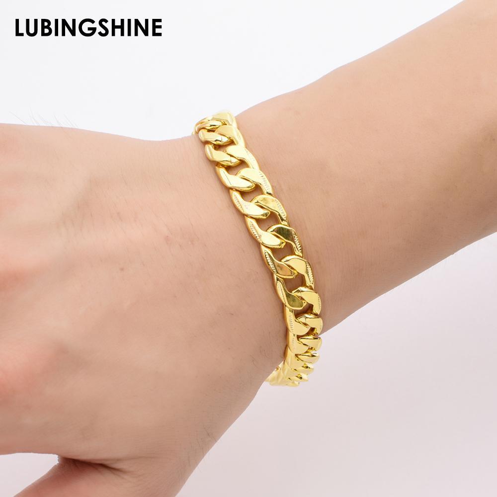 180d50fa2a55b Fashion Men s Gold Color Bracelets Alloy Bracelet Simple Style Whip Design  Gold Chain 21cm Men Jewelry Best Gift pulseras