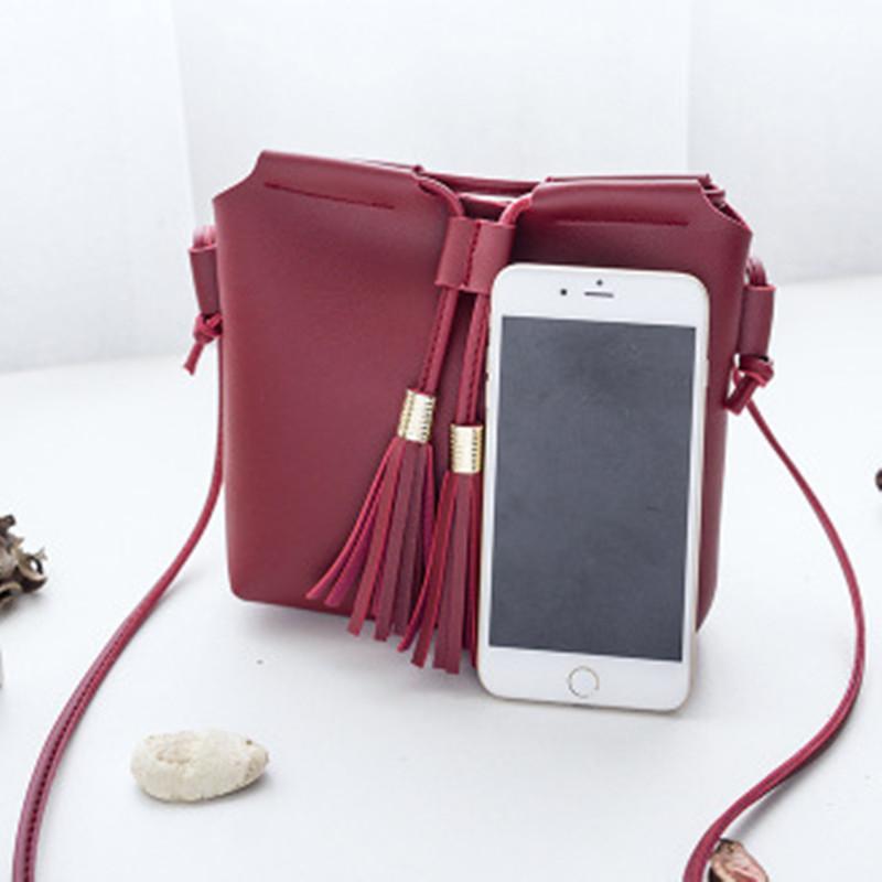 d5901feb2273 2018 Lovely Tassel Small Keys Phone Red Women S Bag PU Leather Women  Messenger Bags Ladies Handbags Female Designer Shoulder Bag Crossbody Purse  Cute Purses ...