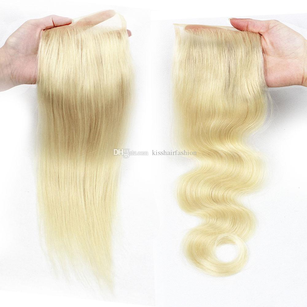 Kisshair 613 4x4 Lace Closure Straight Body Wave Color 613 Blonde Extensions Brazilian Human Hair Free Part Middle Part Closure 8-20 inch