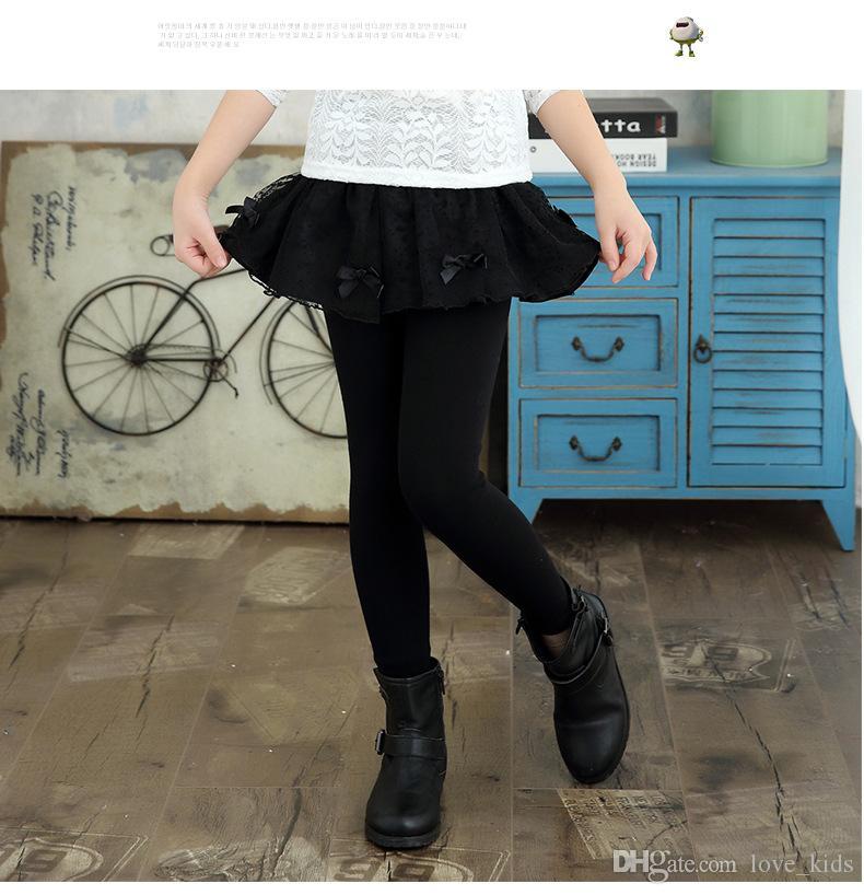 Ragazze pantaloni di pizzo gonna inverno Nuove ragazze di primavera addensare leggings con gonna vestiti delle ragazze bambini pantaloni pantaloni leggings ragazza