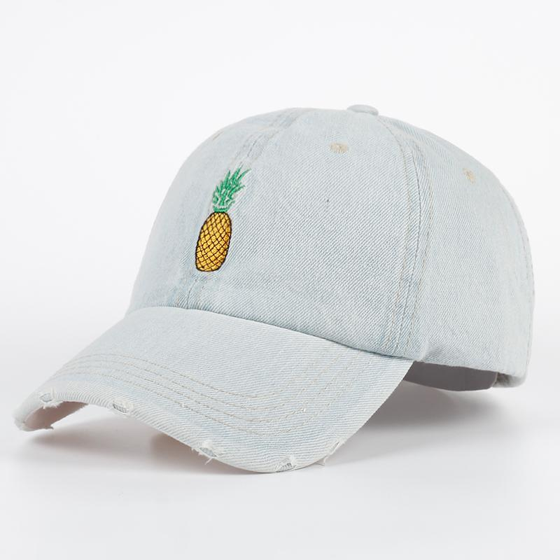 7d1285edca7 Pineapple Embroidery Distressed Denim Dad Hat Baseball Cap Snapback Curved  Bill PINEAPPLE Emoji Hat Unconstructed Cap Gorras Ball Cap Wholesale Hats  From ...