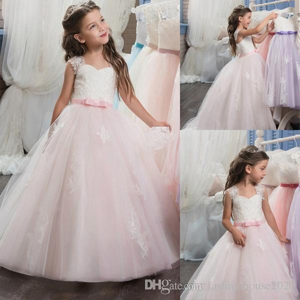 940c092f87d 2018 Baby Pink Princess Flower Girl Dresses Cap Sleeves Lace Applique  Sequins Sash Bow Child Pageant Gowns Flower Girl For Weddings Dresses Royal  Blue ...