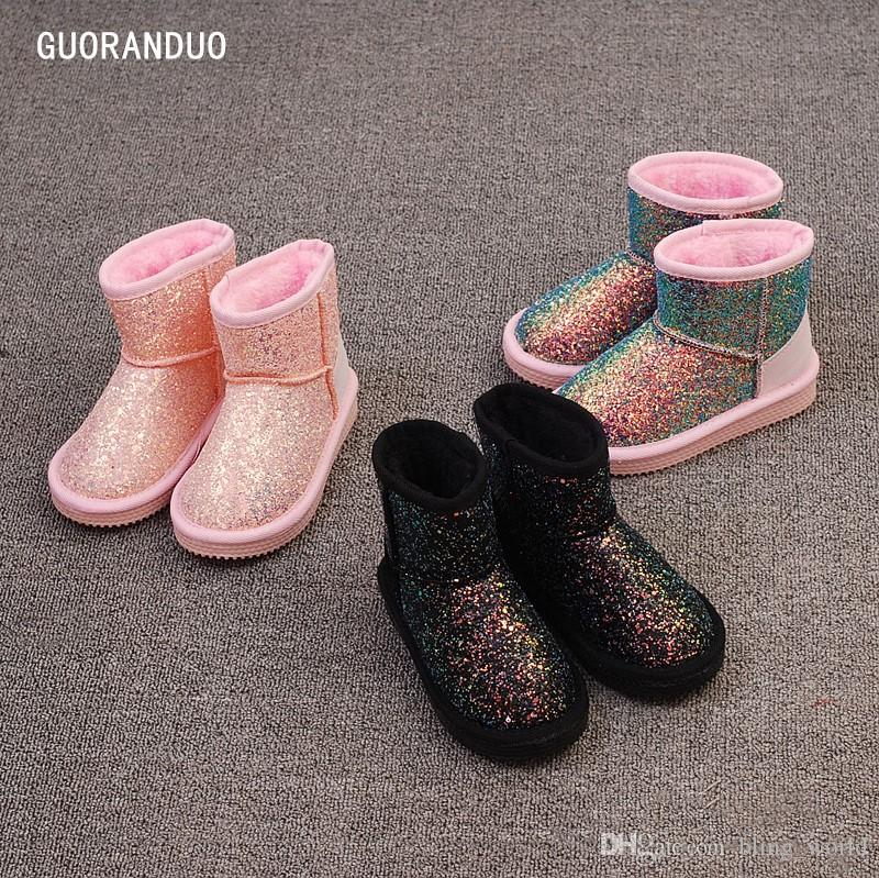 5053e9928 kids Boots Sequins Girls Snow Boots Toddler Winter Thickened Shoes Classic  Short Boot Warm Children Boots Waterproof Shoes LDH251