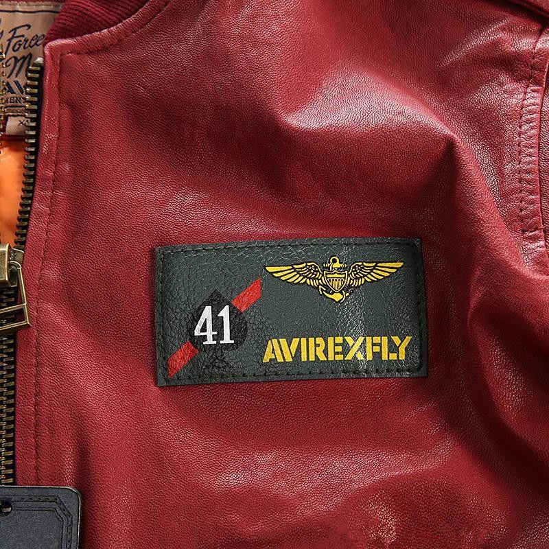 CARRIER AIR WING bomber giacche AVIREX FLY Flocking giacche di pelle da baseball da combattimento 41 ACES