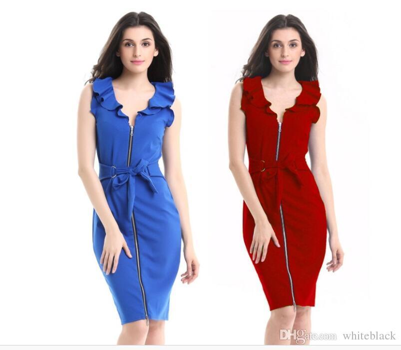 59982aef8e Compre Vestidos Ocasionales De La Blusa De Las Mujeres Del Verano De La  Colmena Del Cuello Con Cinturón Arco De La Cremallera Frente Azul Rojo  Negro Vestido ...