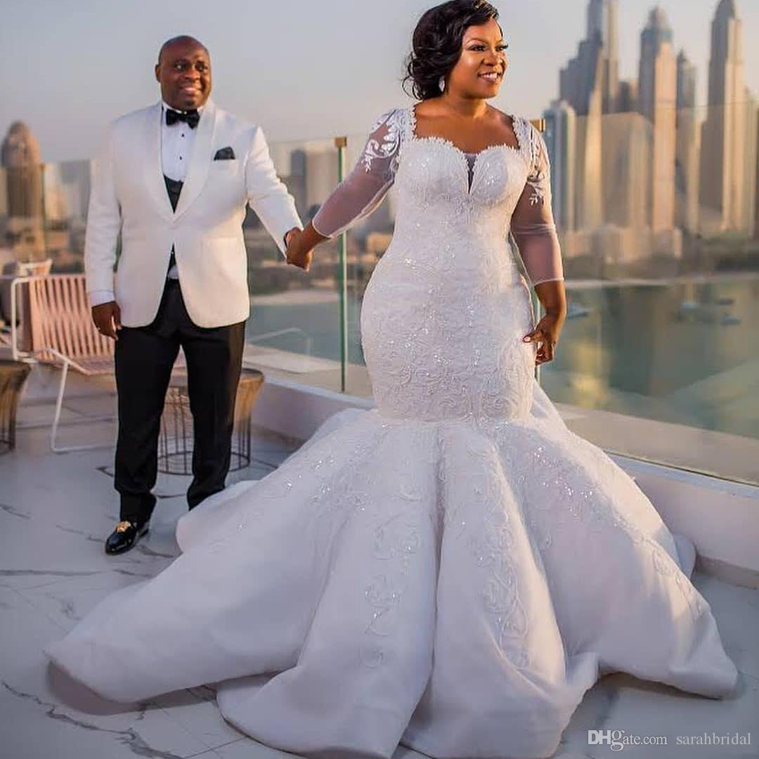 b249009e939 2018 South African Mermaid Wedding Dresses Lace Appliques Plus Size Sheer  Long Sleeves Bridal Gowns Satin Sweep Train Wedding Vestidos Designer Gown  ...