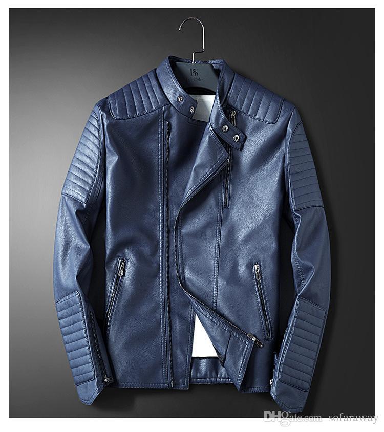 cb52fcc2a23f9 Compre Chaqueta De Cuero Azul Para Hombre De La Motocicleta Hombres Slim  Fit Chaqueta Informal De Color Rojo Abrigo De Cuero De Otoño Invierno Ropa  ...