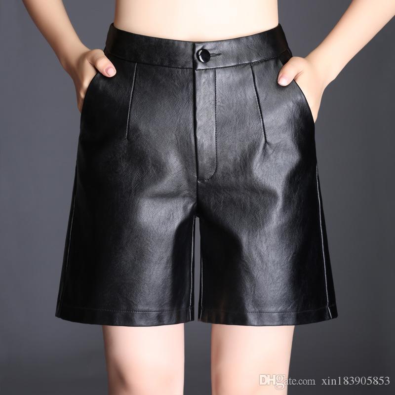 34e1f321b699d5 Großhandel Neue Herbst Winter Hohe Taille Lose Pu Leder Shorts Frauen Damen  Schwarz Shorts Mode Frauen Casual Shorts Plus Größe Von Xin183905853, ...