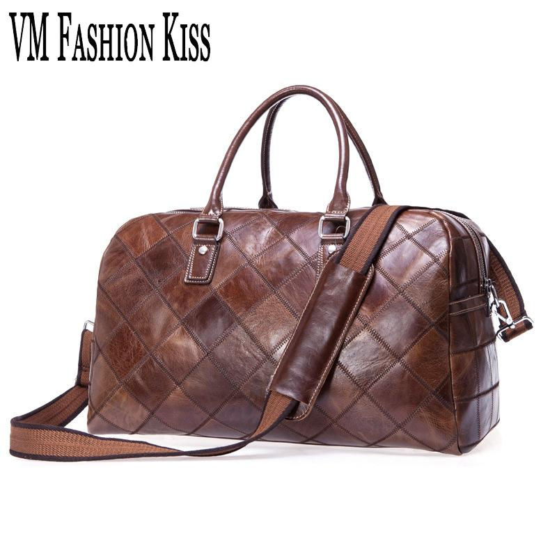 e11a4ee31f5 VM FASHION KISS Genuine Leather Traveling Bags Leisure Retro Male ...