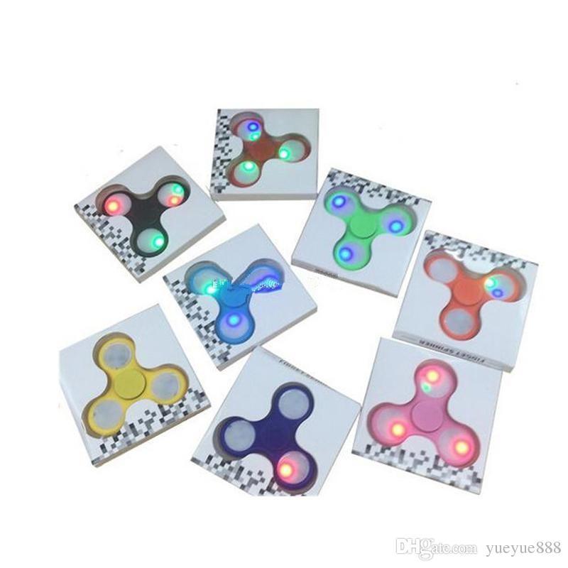 wholesale LED Light Hand Spinner Fingertips Spiral Fingers Fidget stress tri Spinner EDC Hand Spinner Acrylic Plastic Fidgets DHL shipping