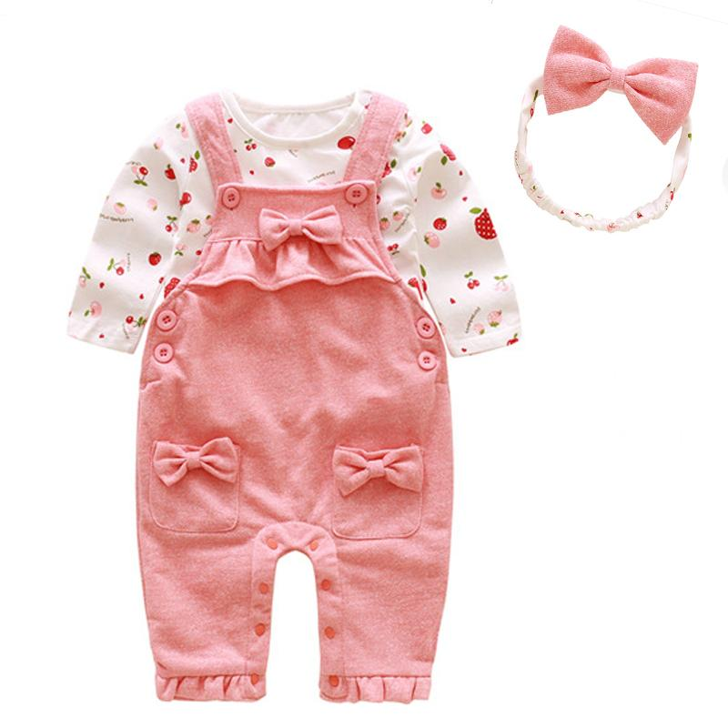 3pcs Set Cute Newborn Baby Girl Clothes 2018 Worth The Wait Baby Coon T Bow Ie Decoration Overalls Headband Outfits Dress