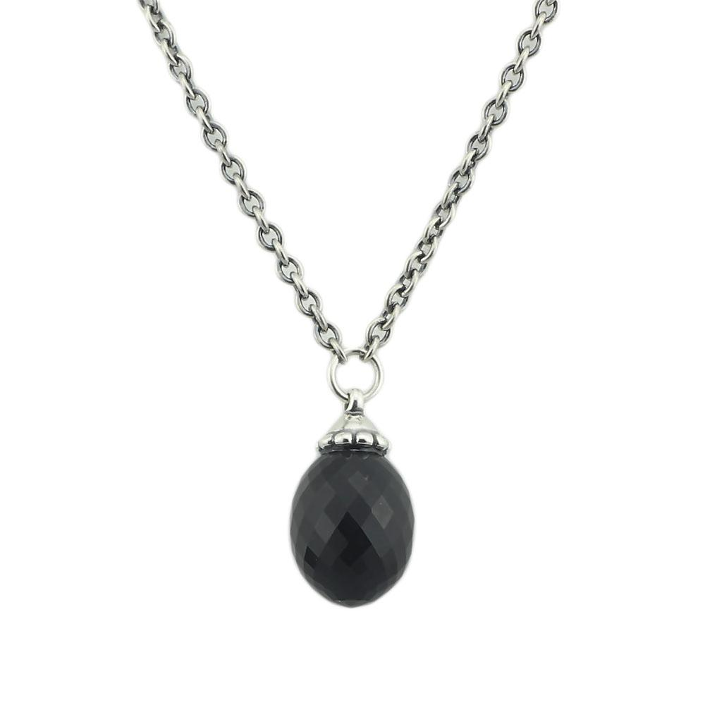 floral index with sterling chains genuine pendant black silver onyx necklace